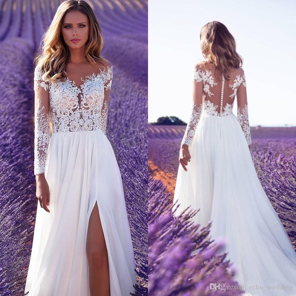 Compre Beach Country Bohemian Wedding Dresses 2018 Una Línea De ...