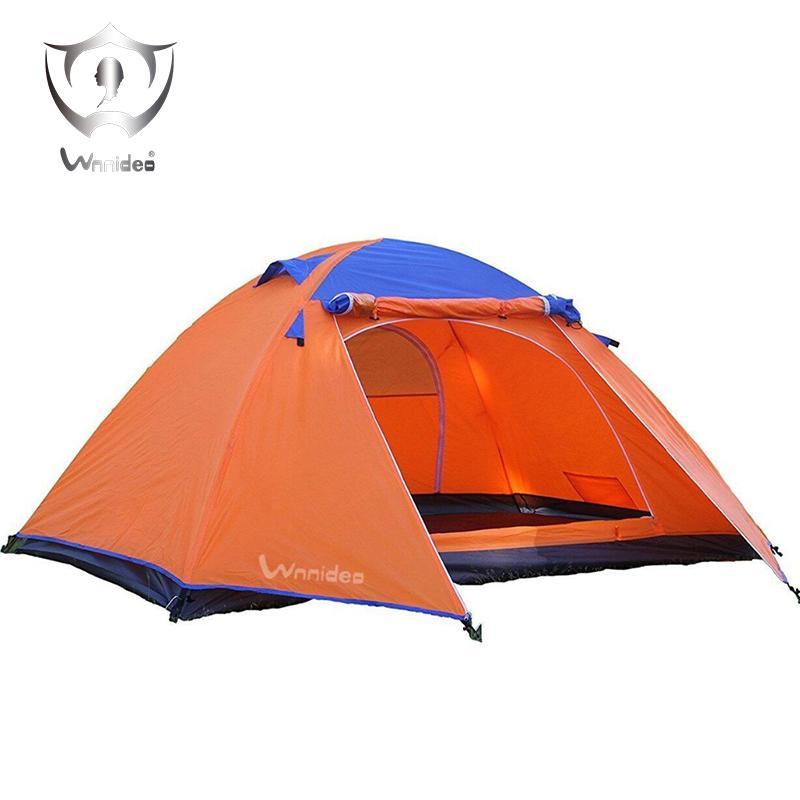 7ff1698f77b38 Acheter Wnnideo Aluminium Tige Famille Camping Tentes 3 4 Personne Tente  Double Couche 4 Saison Lucarne Extérieur Camping Tente Imperméable Jaune De  $123.6 ...