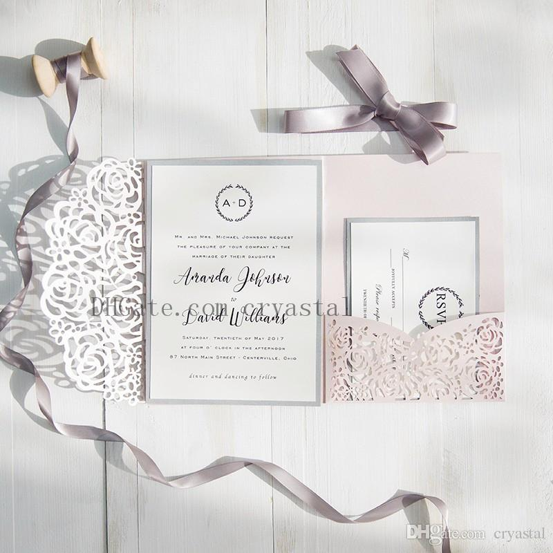 2018 Blush Pink And Gray Laser Cut Pocket Wedding Invitations, Customizable Invites With Envelope, Free Shipped by UPS