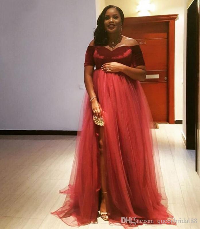 2018 Maternity Evening Dresses Velvet Short Sleeves Plus Size Prom