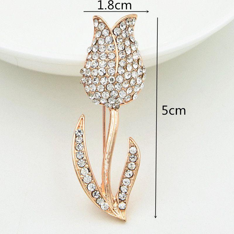 Fantástico Liga de Ouro Rosa Flor Broche de Diamante Cintilante Claro Rhinestone Lady Lapela Pin Bonita Delicado Jóias Acessórios Para Homens