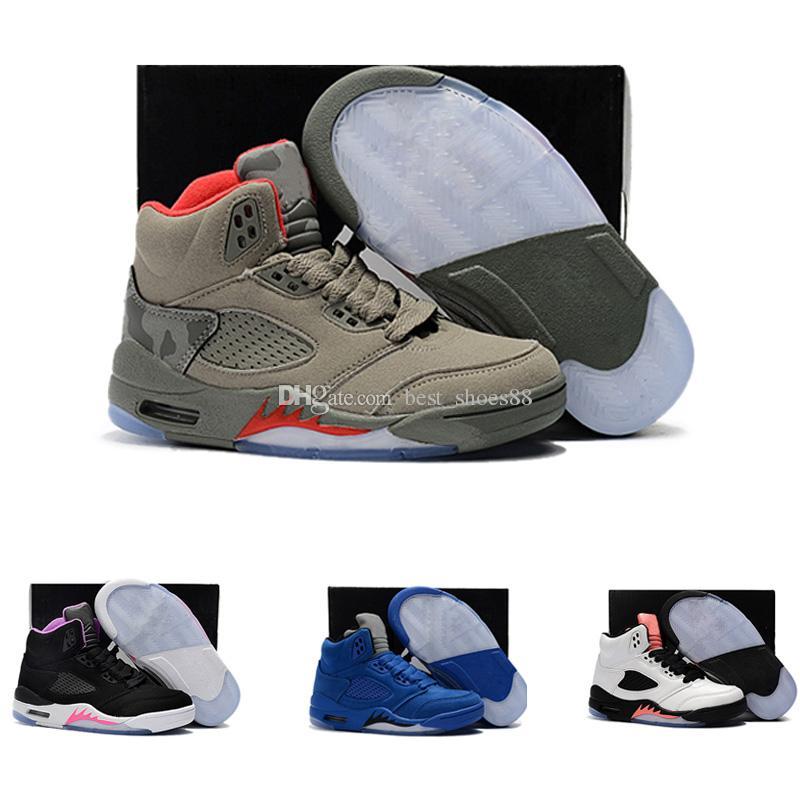 another chance 07f50 900a2 Großhandel Nike Air Jordan 5 11 12 Retro Kinder 5 Basketball Schuhe Für  Jungen Mädchen Og Schwarz 5s Olympisch Metallic Gold Weiß Zement Jugend  Sport ...