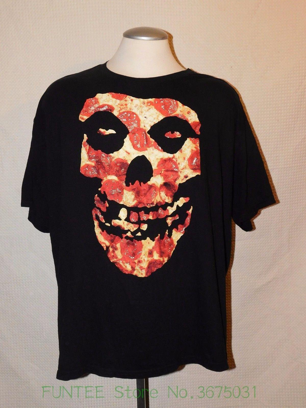 Men Adult Slim Fit T Shirt S-xxl Rare Mens Misfits Pizza Skull Face T-shirt Sz 3xl Punk Rock Band Shirt
