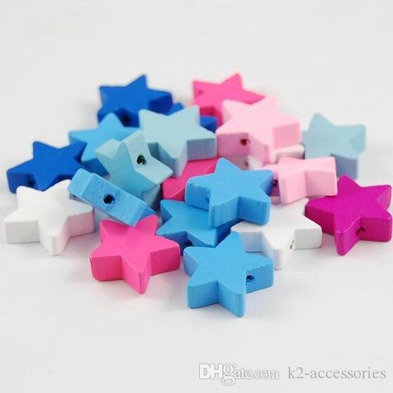 100pcs Mixed Colors STAR Shape Wood Beads Craft/Kids Jewelry Making for bracelet 20MM