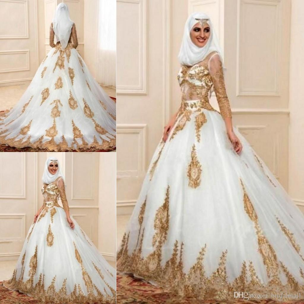 d2ef145edaf Discount 2019 Muslim Gold Appliques Lace Wedding Dresses With 3 4 Long  Sleeves Arabic Bridal Gowns Indian Engagement Formal Dresses Robe De  Mariage Wedding ...