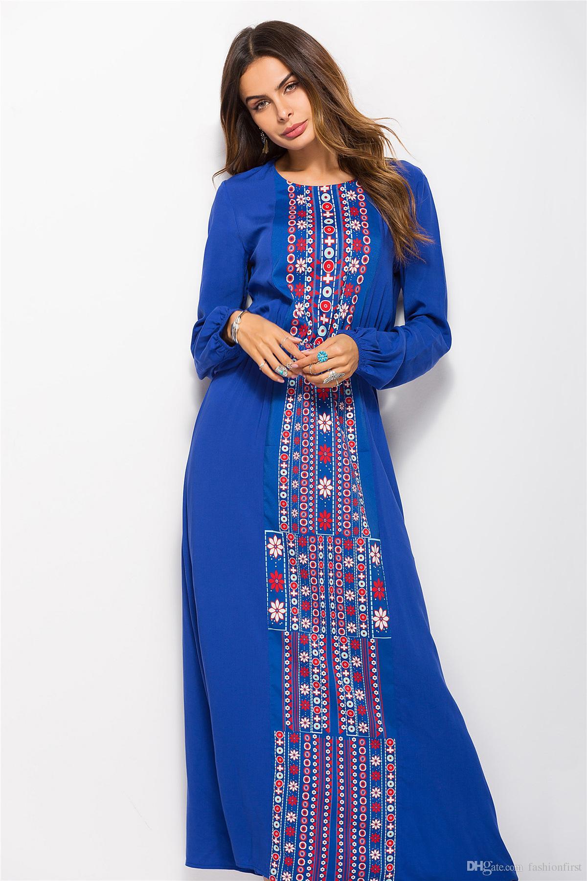 Acquista Nuove Donne Di Arrivo Abiti Lunghi Abito Musulmano Moda Abaya  Abbigliamento Manica Lunga Stampa Lunga Signora Musulmana Casual Dress A   17.09 Dal ... 9acf8b699f1