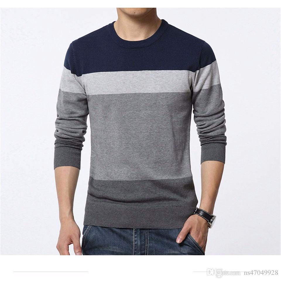 2017 Brand New Sweaters Men Fashion Style Autumn Winter Patchwork Knitted Quality Pullover Men Casual Men Sweater M-3XL