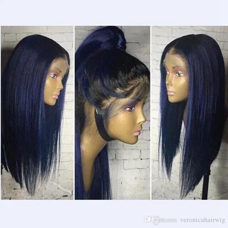 Hot Beautiful Heat Resistant Lace Front Wigs With Baby Hair 18inch Glueless Ombre Blue Wigs Silky Straight Synthetic Wigs For Black Women
