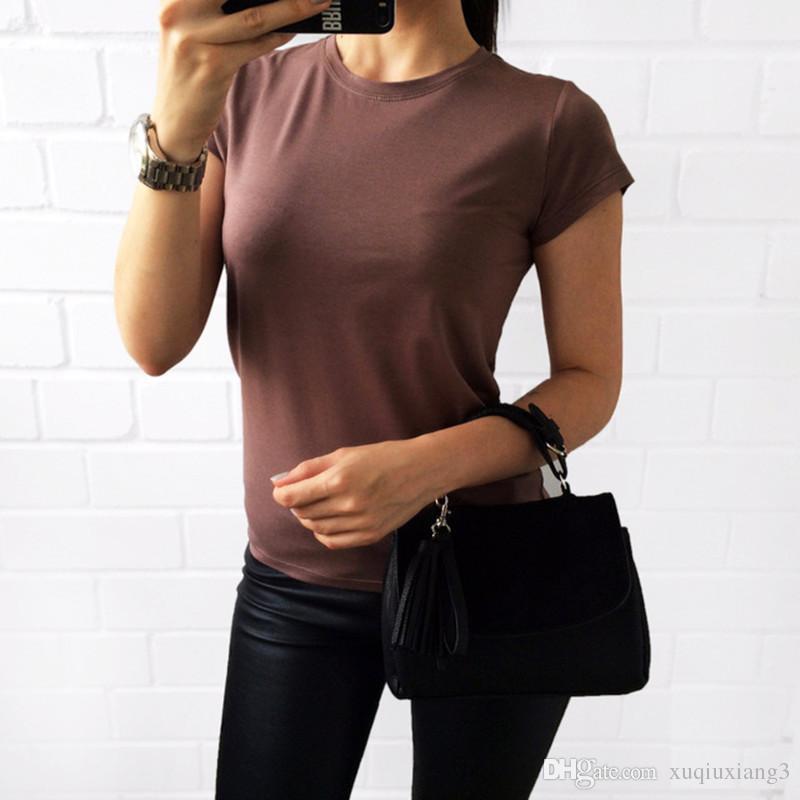 0f314f8e0 Compre Camiseta Lisa Mulheres Algodão Elástico Básico Camisetas Femininas  Casual Tops De Manga Curta T Shirt Das Mulheres De Xuqiuxiang3
