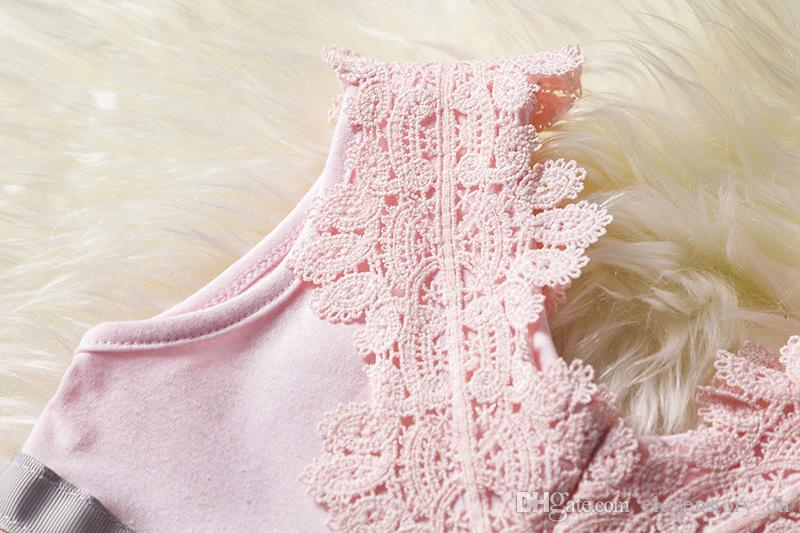 Flores de encaje niñas vestido de verano arco ropa niños fiesta / tutú de la boda bebé ropa sin mangas, R1AA802DS-08, [ElevenStory_dh]