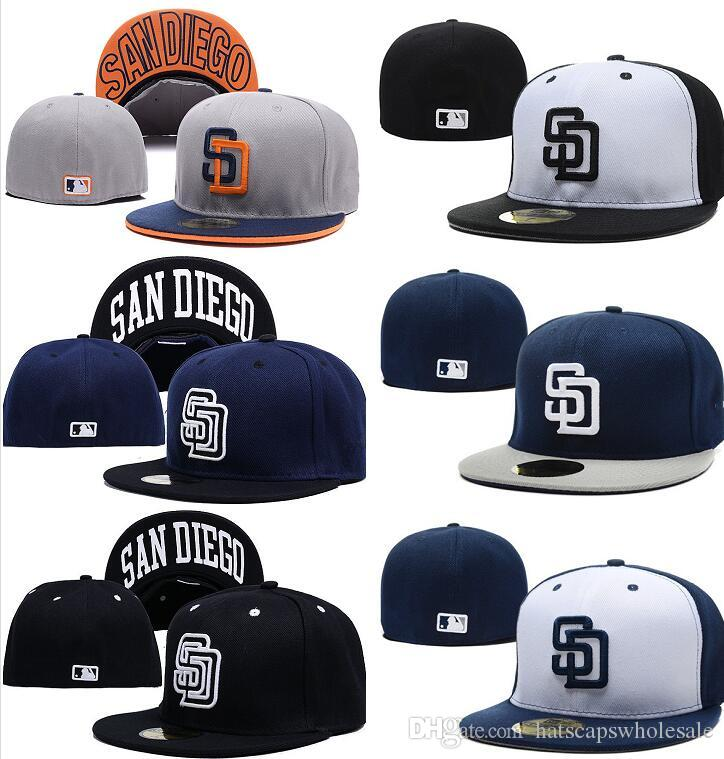 1866278a16d Hotselling Blue White Color Padres Fitted Baseball Hats Flat Brim Black SD  Sports Team Letter Sd Flat Full Closed Caps Baseball Hat Hat Store From ...