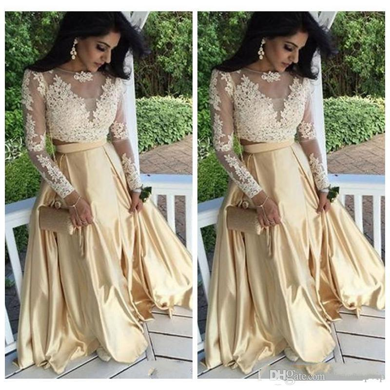 7d5ecfd05aa5 Sexy Gold Dresses Two Pieces Prom Gown 2019 Lace Appliques Illusion Long  Sleeves Plus Size Pageant Dress Formal Party Evening Wear Black Prom Dress  Camo ...