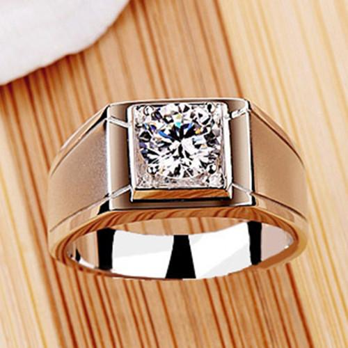 7860877956bed 1 Carat Vintage Solitaire Simulate Diamond Men Engagement Ring Genuine  Solid Sterling Silver Promise Man Wedding Ring S923