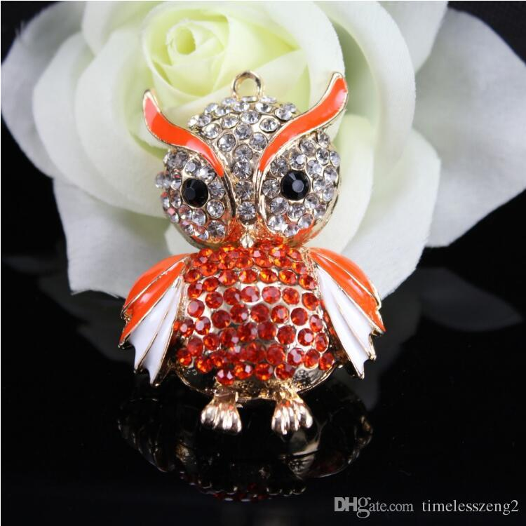 Beautiful design owl key ring with bright crystal key chain cute metal key chain gift multicolor