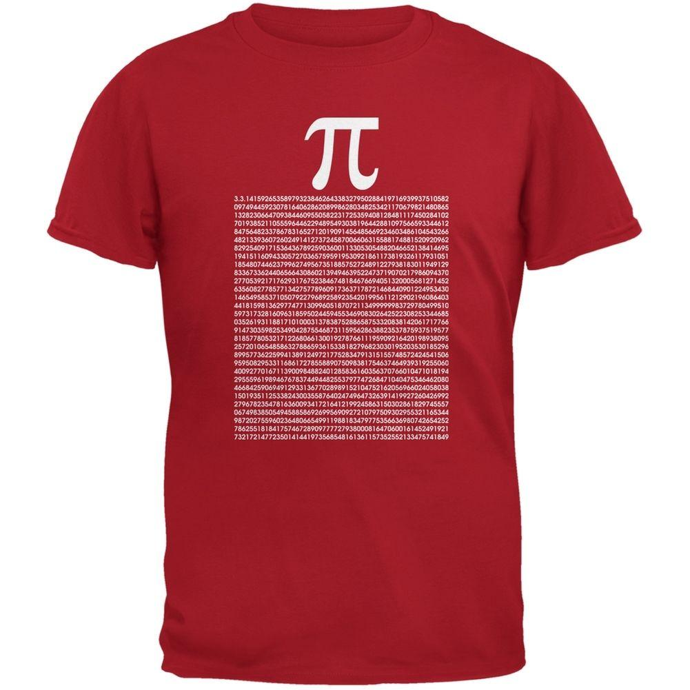 Pi Numbers Red Adult T-shirt Discout Hot New Tshirt Top Free Shipping  T-shirt Funny 100% Cotton T Shirts Harajuku Summer 2018