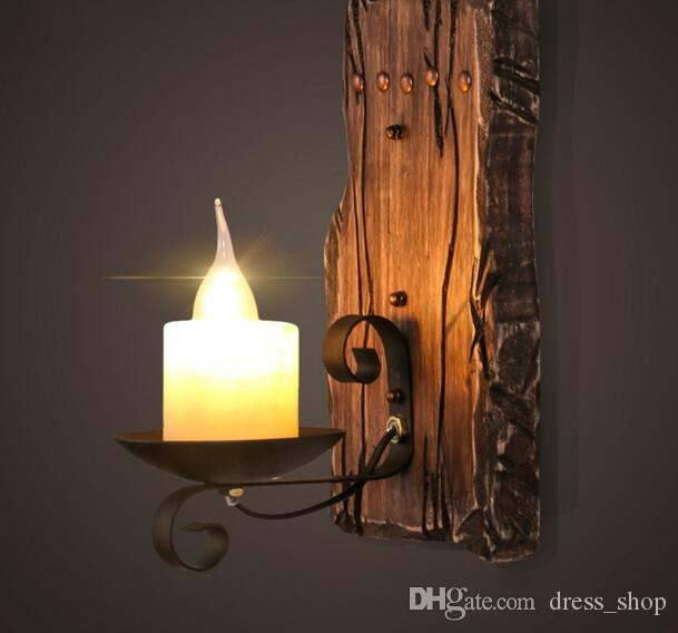 New Vintage Retro Black Vintage Sconce Lodge Retro Iron Wall Lamps Artificial Marble Candle Lampshade Lighting Fixture Sconce