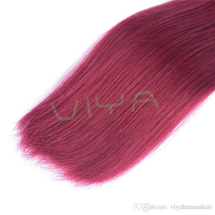Las extensiones brasileñas del pelo de Borgoña del grado 9A rojo vino 3bundles el pelo humano recto sedoso borgoño brasileño teje el envío libre de DHL