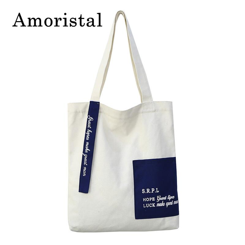 7a5cd226ea Unisex Letters Canvas Tote Bag Handmade Pure Cotton Canvas Shopping School  Books Trip Bags Women Shoulder Bag Shopping Bags B276 Cute Bags Purses For  Women ...