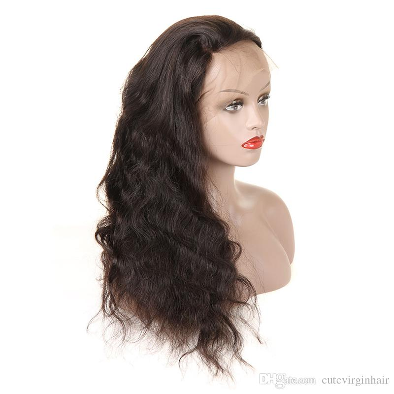 Body Wave Full Lace Human Hair Wigs Pre Plucked Brazilian Malaysian Peruvian Medium Size Swiss Lace Cap Full Lace Wigs Natural Color