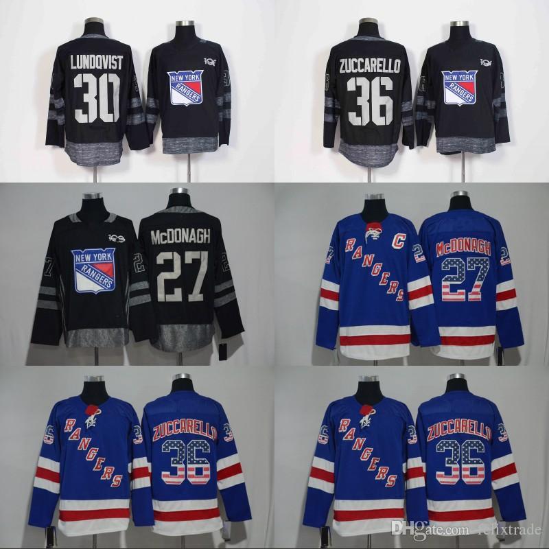 2019 100th  36 Zuccarello New York Rangers 2017 18 Season With America Flag  Nmuber Jersey 27 McDonagh 30 Lundqvist 100th Black Hockey Jersey From  Felixtrade ... bc38cf78f
