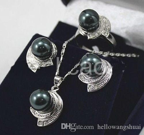 Элегантный 10 мм черный круглый Южное море оболочки Жемчужина ожерелье серьги кольцо набор