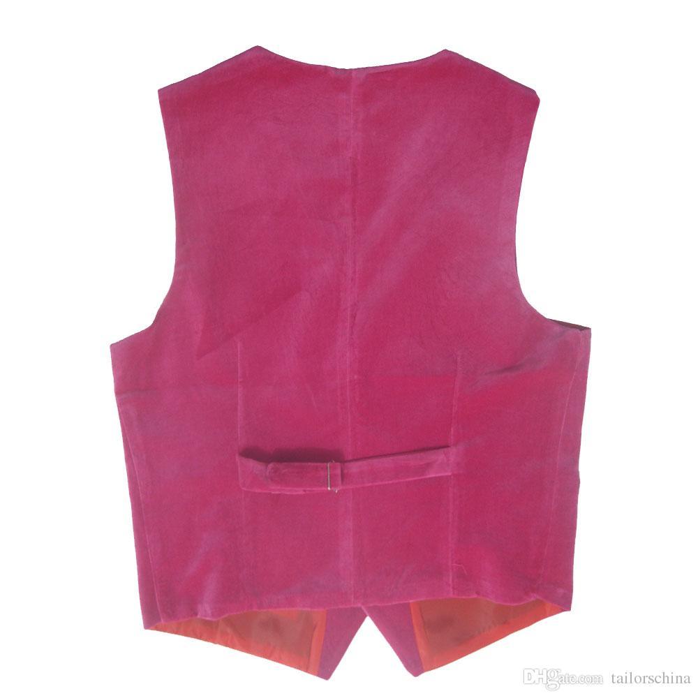 2018 Neues Design Samt Rosa Vintage Slim Fit Bräutigam Westen Hochzeitswesten Alle Größen erhältlich Inklusive Kindergröße
