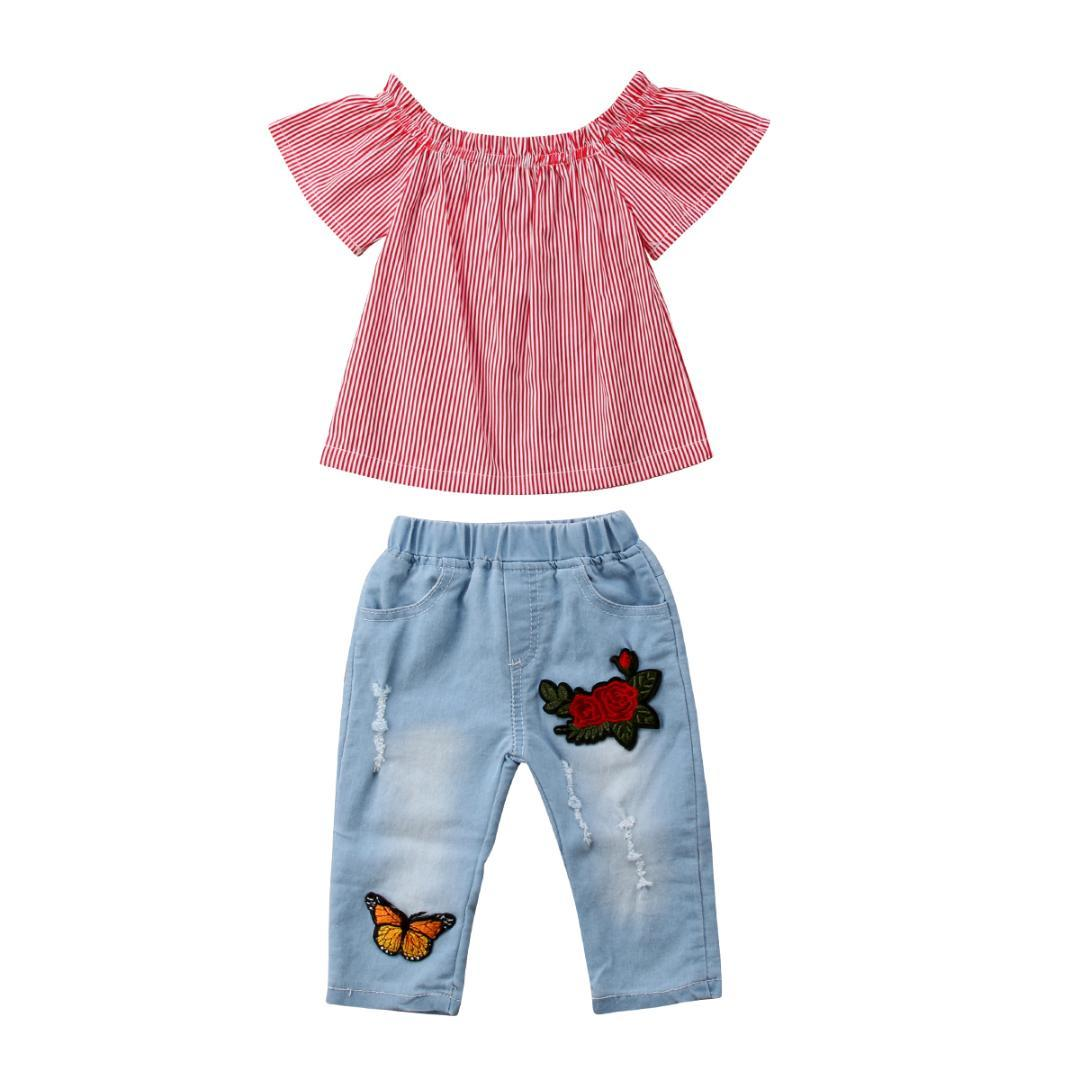 5501ede9ce2 2019 Toddler Kid Baby Girls Off Shoulder Tops Denim Jeans Butterfly Print  Outfits Striped Summer Children Clothes From Orchidor