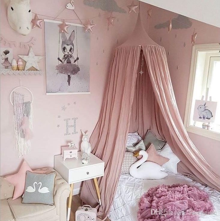 Grosshandel Vieoeoease Baby Bett Baldachin Bett Vorhang Runde Kuppel