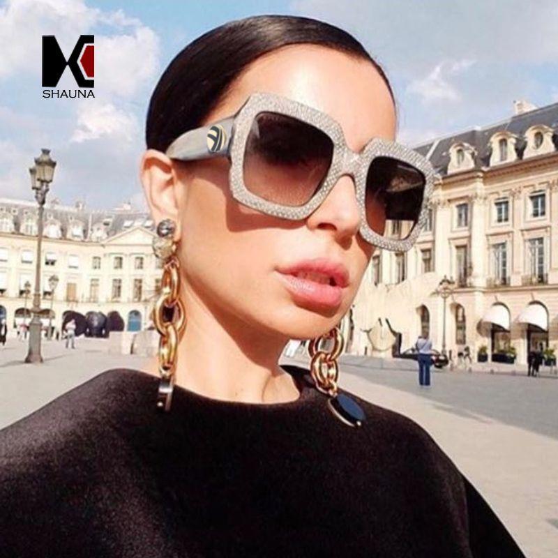 8215956bb3 SHAUNA Luxury Rhinestone Crystal Decoration Women Square Sunglasses ...