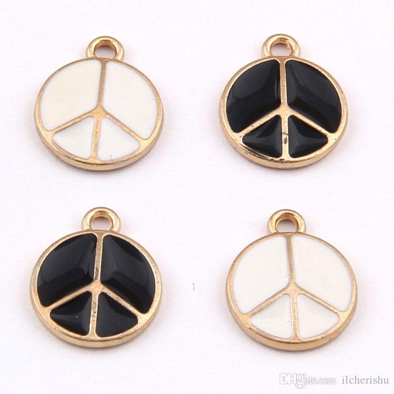 15*11mm Fashion Enamel peace sign charms, peace symbol pendants metal dangles alloy bracelet earrings accessories wholesale jewelry making