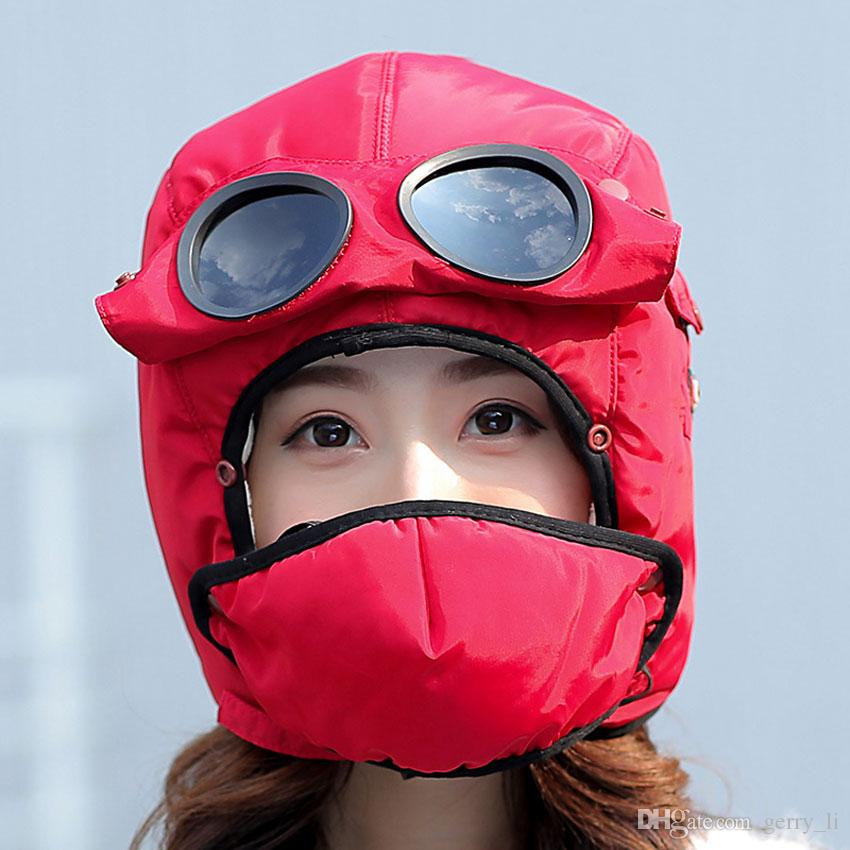 85f078e6c7f 2019 Bomber Hats Women Men Child Winter Windproof Ski Cap With Ear Flaps  And Mask Pilot Goggles Warm Aviator Hats Trooper Trapper Cap From Gerry li