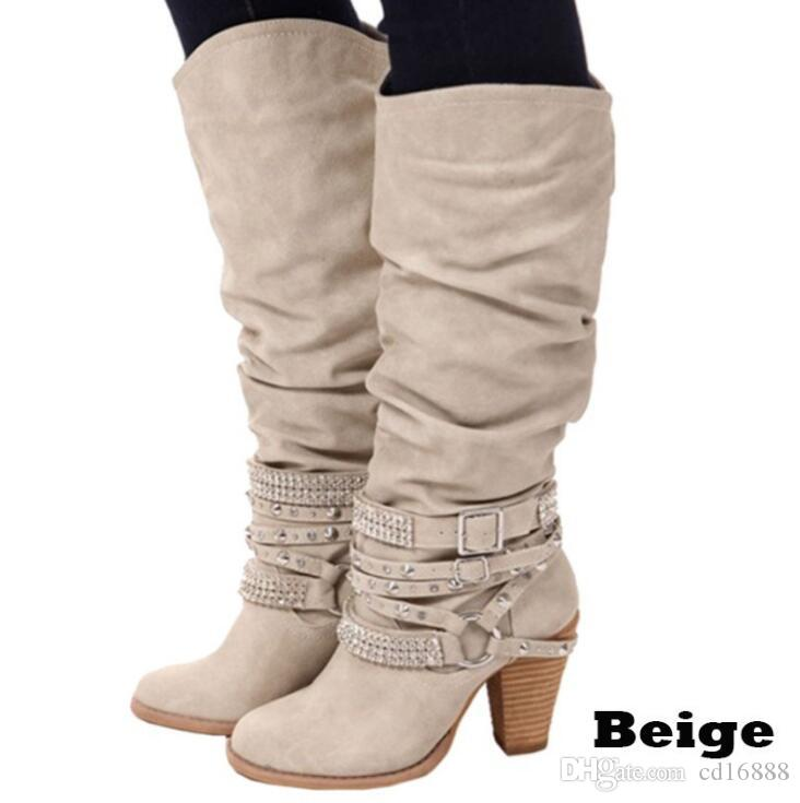 European and American style women shoes high boots 2018 plus size spring autumn shoes women boots high heels Rhinestone Motorcycle boots