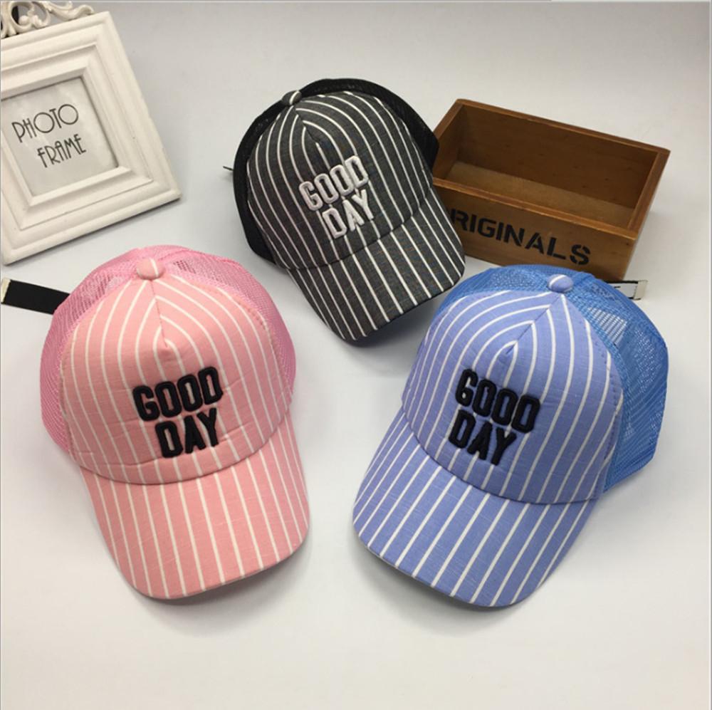 db0e16483a49ac Kids Stripe Baseball Cap Girls Mesh Snapback Summer Hat Boys Hip Hop Bone  Hat Sun Protection Gorra Bone Hats Starter Cap Big Hats From Heathere, ...