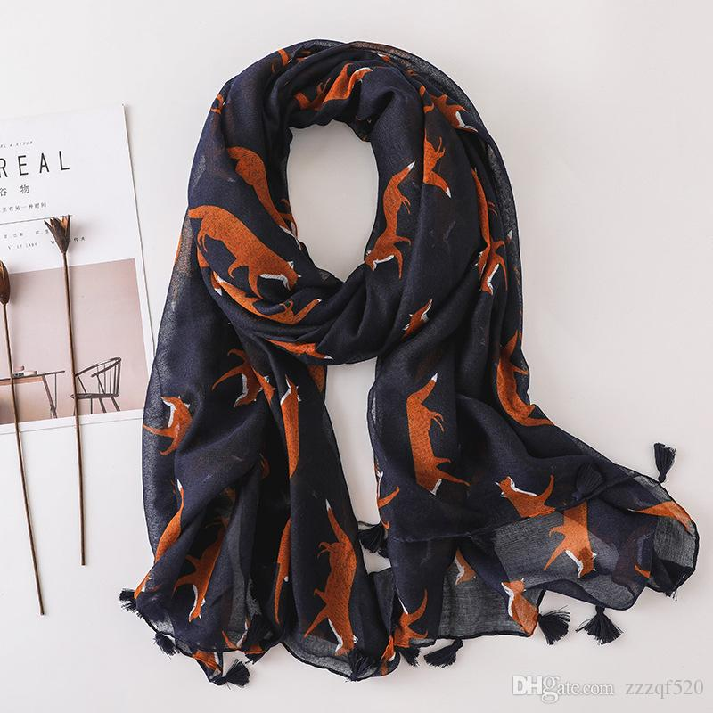 9ce77f19b6677 Navy Color Fox Prints With Tassel Fashion Scarf Shawls For Women Girl  Summer Wraps Scarves Beach Lady Shawl Winter Scarf Tube Scarf From  Zzzqf520, ...