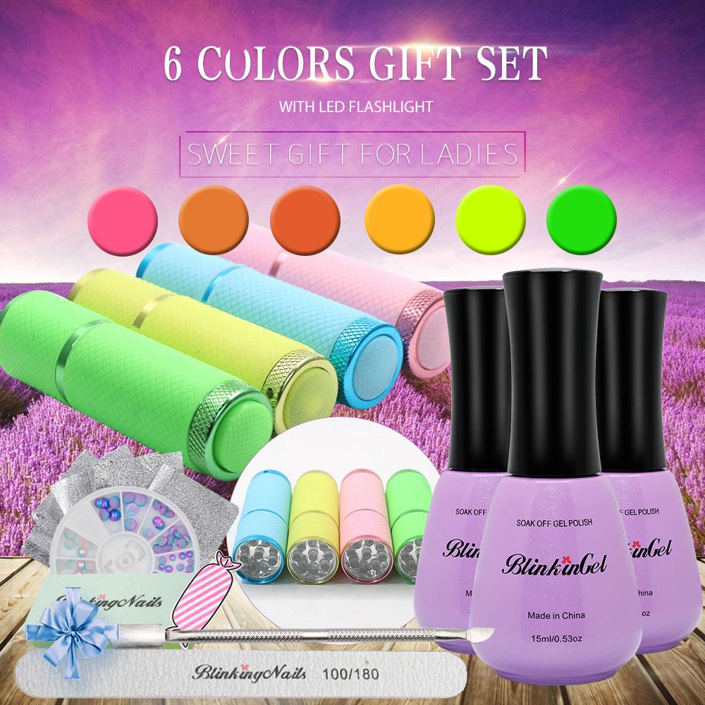BlinkinGel Vernis Gel UV Nail Gel Starter Kit 6 Multicolor Enamels ...