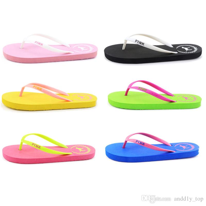 2018 7 Colors Girls Pink Flip Flops Love Pink Sandals Pink Letter Beach Slippers Shoes Summer Soft Beach Slipper 2pcs/pair