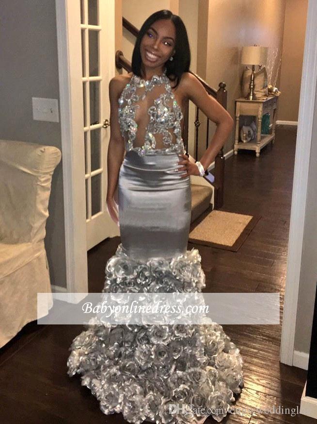 2018 Gümüş Mermaid Seksi Halter Gül Çiçekler Gelinlik Modelleri Afrika See-through Backless Aplike Balo Abiye Örgün Parti Giymek