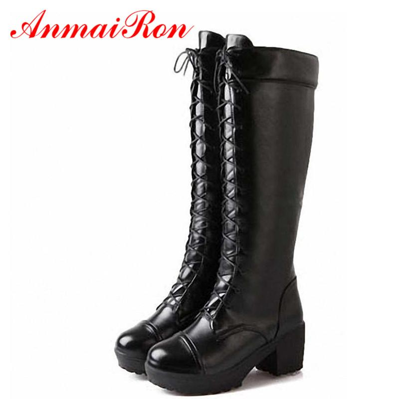 ANMAIRON Boots New Gothic Ppunk Shoes Cosplay Motorcycle Boots Platform Sexy Lace-Up Winter Med Knee High Free Shipping