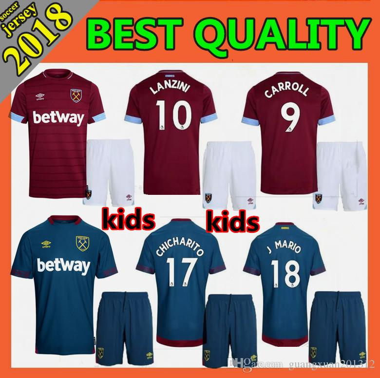 c4f943071 Kids Kit 2018 2019 West Ham United Soccer Jerseys 18 19 LANZINI CARROLL  NOBLE CHICHARITO Football Jersey Shirt Soccer Jersey Online with   19.55 Piece on ...