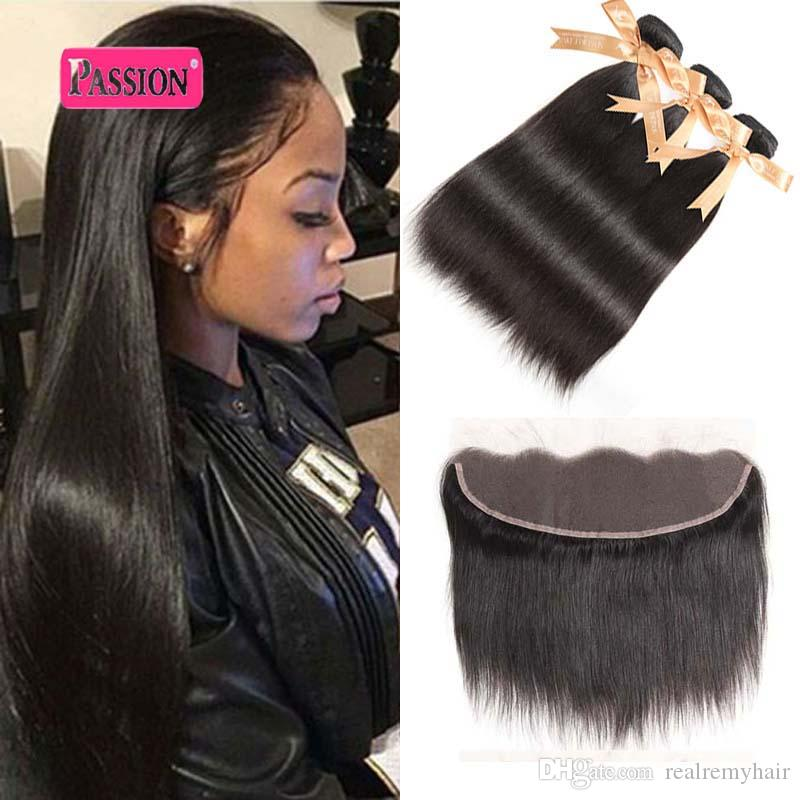 Brazilian Human Hair Bundles With Frontal Brazilian Straight Virgin Hair With Lace Frontal Ear To Ear Lace Frontal Closure With Bundles