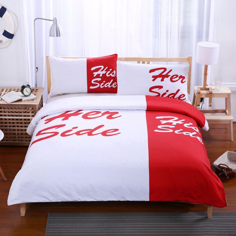 Ropa de cama Ropa de cama en blanco y negro juego de cama Su lado su lado Pareja textiles para el hogar funda nórdica suave con fundas de almohada 3 piezas caliente