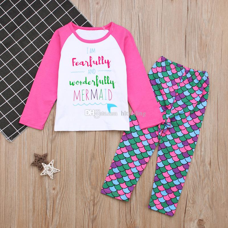 Baby Mermaid outfits INS girls letter top+Fish scales pants 2018 new Boutique kids Clothing Sets C3582