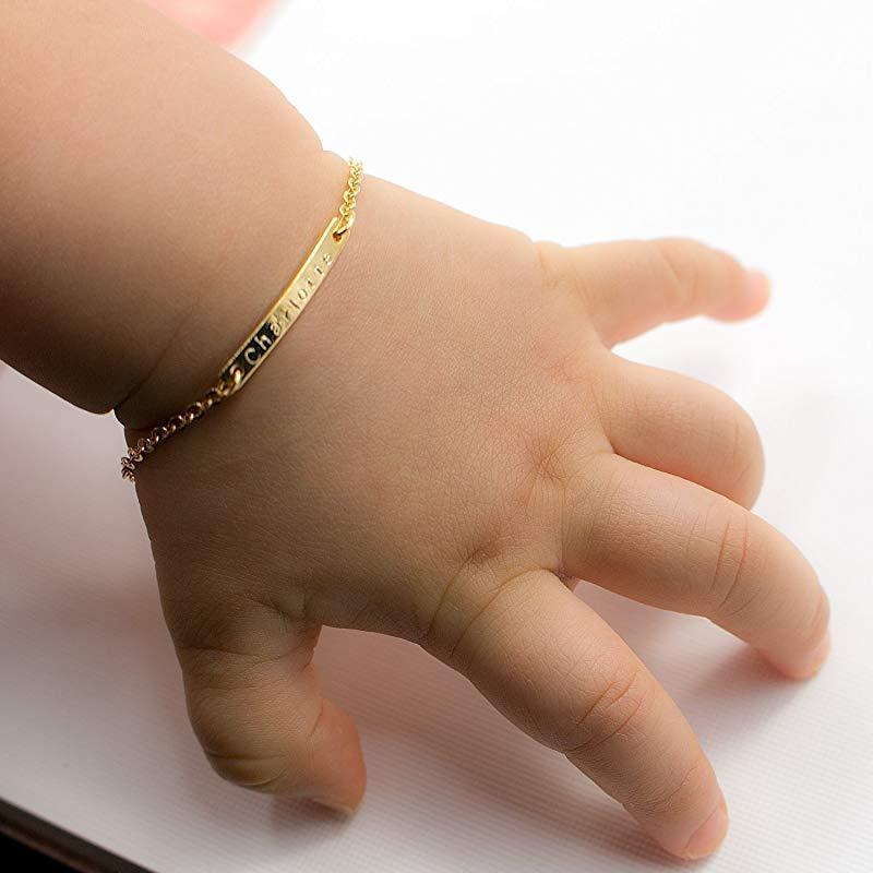 99ed91f7cc8e 4 Cadena Nombre del bebé Bar Identificación Pulsera Oro Mano Sello Artesano  Pulsera Personalizado Su nombre personalizado Nuevo regalo de los niños ...