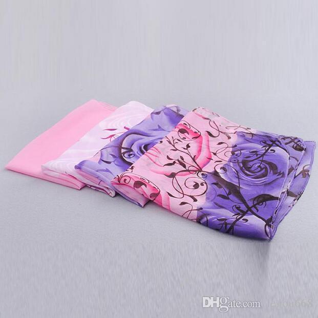 2018 rose print chiffon polyester scarves woman thin shawl turban belt hijab fashion arabic scarfs wrap