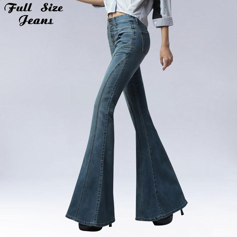8771c919277 2019 2017 Vintage Skinny Flare Jeans Single Breasted Hip Slim Fit Pants  Wide Leg Big Bell Bottom Jeans Plus Size Jean Slim Femme XXXL From  Xiatian6