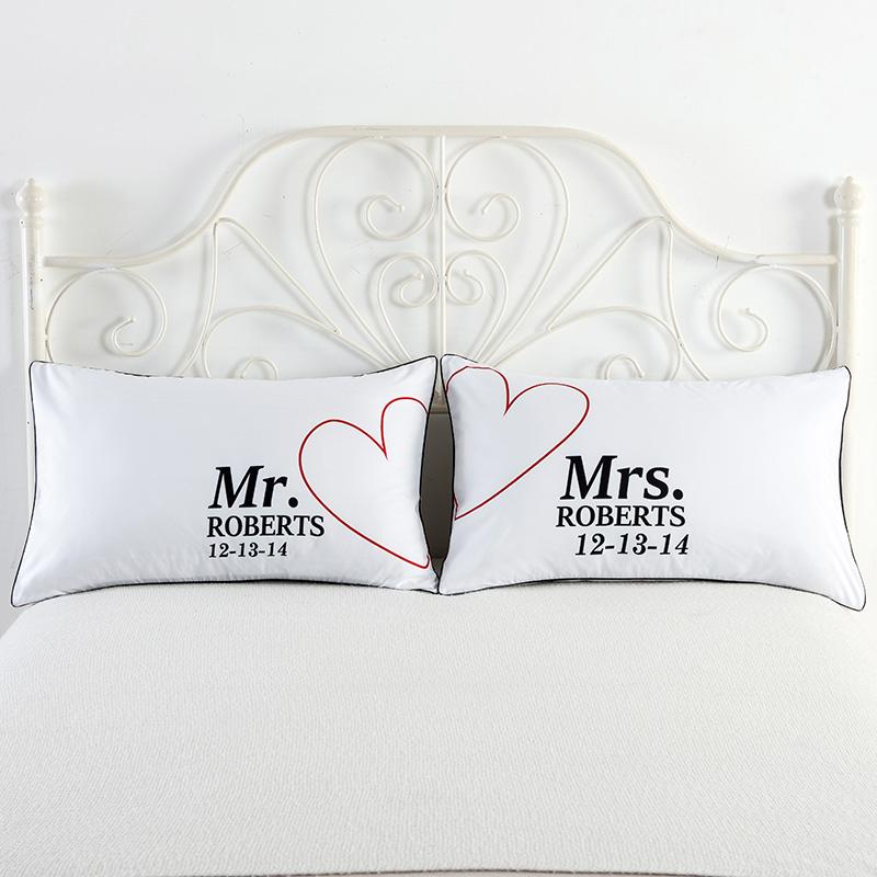 Mr And Mrs Pillowcases Decorative Pillow Case Usa Queen Size Impressive Mr And Mrs Decorative Pillows