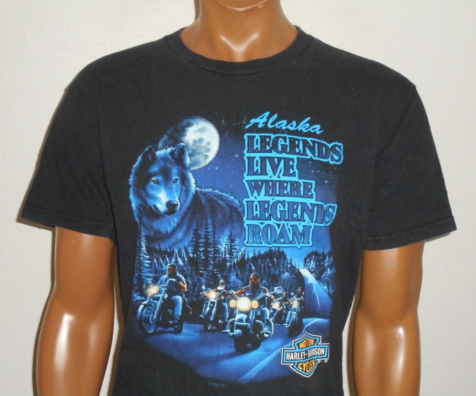 HARLEY DAVIDSON Motorcycle T Shirt JUNEAU ALASKA Vtg 1995 BLACK WOLF Mens  USA Lg Buy Online T Shirts Make Tee Shirts From Identatee, $11.01|  DHgate.Com