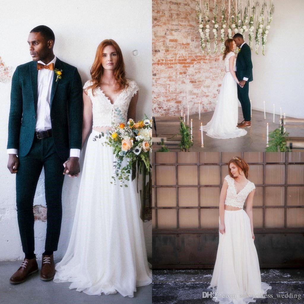 Abito da sposa stile bohemien in pizzo con maniche a due pezzi Una linea in chiffon da sposa Gownvestido de noiva
