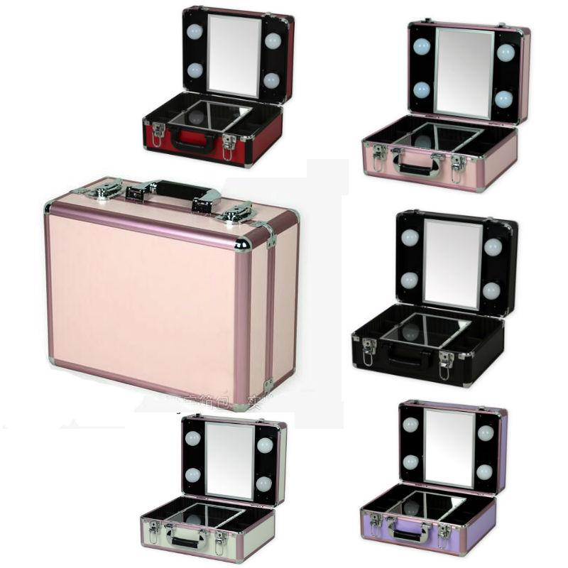 Aluminum Lighted Makeup Box Portable Beauty Case with 4 Bulbs LED Lights