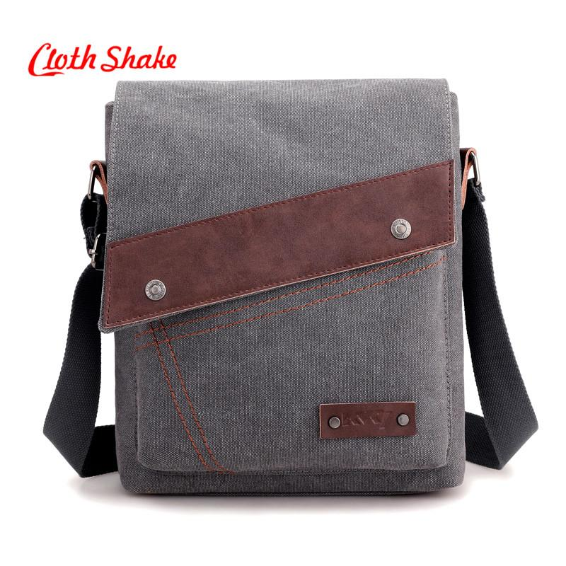 08f190ed7aa5 Cloth Shake Men's Crossbody Bag Multifunctional Men Casual Bag Quality Male  Shoulder Messenger Bags Canvas Handbag Gray